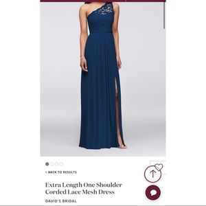 One Shoulder Marine Blue Bridesmaid Dress